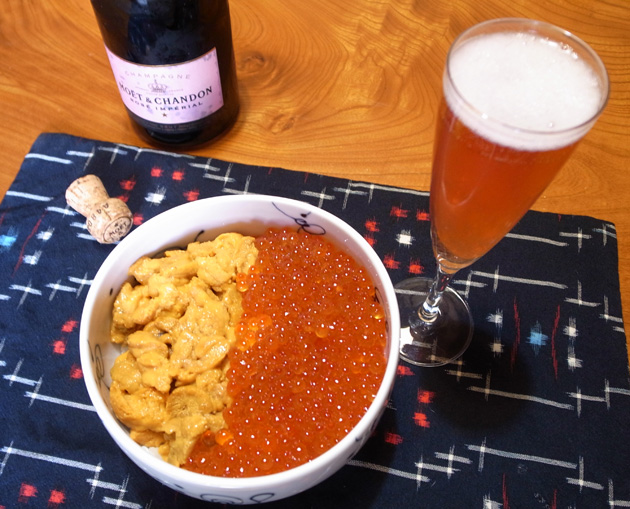 michaels-new-years-breakfast-2012-uni-ikura-donburi-champagne