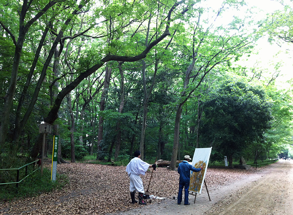 Shimogamo Shrine: Painter in the Tadasu-no-Mori Forest