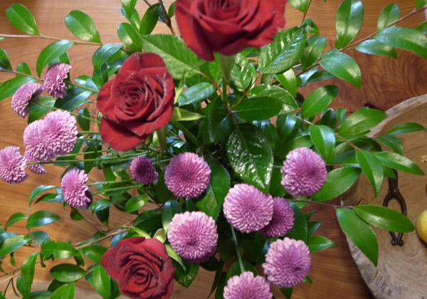 Ikebana: Rose and Chrysanthemum Flowers and Camellia Leaves