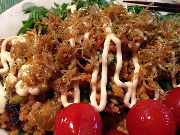 Kimchi Chahan Fried Rice Garnished with Chirimen Jako and Mayonnaise